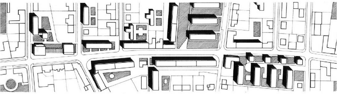 Az tervezett beépítés helyszínrajza. Az új épületek a régi városszövetbe kerülnek.