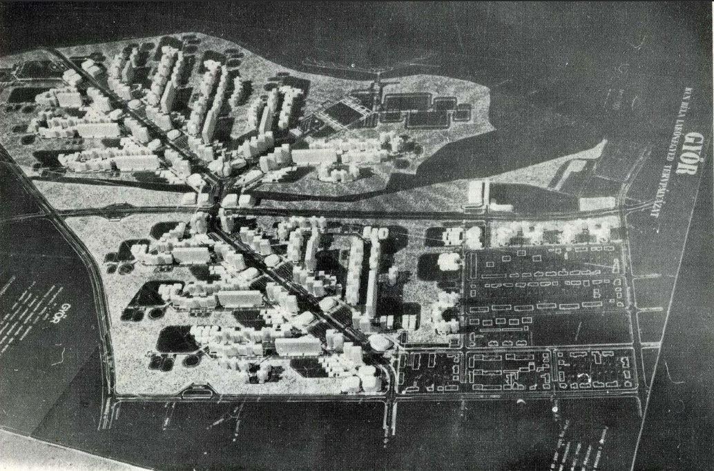 Marcalváros (Kun Béla lakótelep) általános rendezési tervére kiírt pályázat győztes terve (Molnár Attila, Zoltai István, Kálnoki Kis Sándor, Tóvári László - VÁTI).