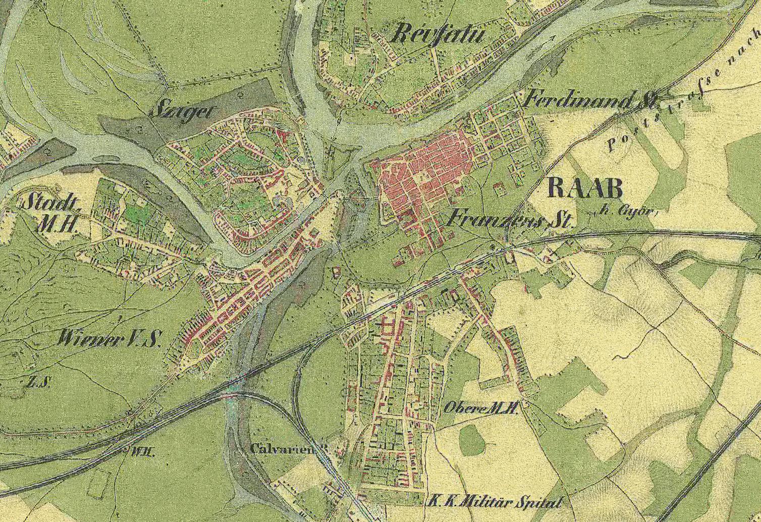 katonai térkép 19. sz. közepe (II. katonai felmérés részlete) katonai térkép