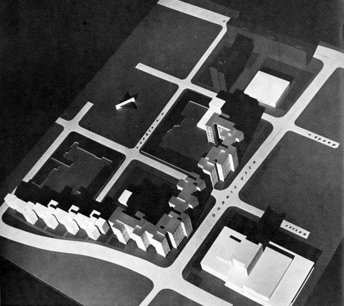 1966 körül járunk. A belváros közeli paneles beépítés szorosan összekapcsolódott a színházépítés beruházásával. Az első tervváltozatokat látjuk. (forrás: GYŐRITERV-es kiadvány)