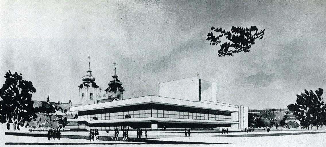 Az első látványrajzokon egy lapostetős színházépületet láthatunk toronyszerűen kiemelkedő zsinórpadlással. Háttérben a bencés templom két tornya... (forrás: GYŐRITERV-es kiadvány)