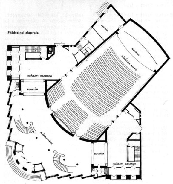 Földszinti alaprajz. (forrás: MÉ 1962/1.)