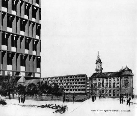 Az épület látványrajza a hatvanas évek elejéről. (forrás: GYŐITERV kiadvány)