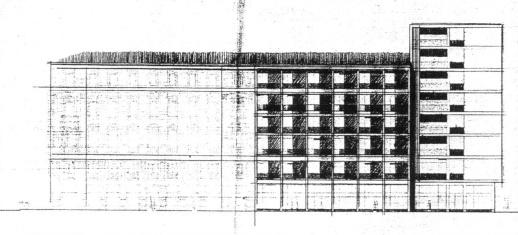 Eredetileg a szálloda bővítését és az új lakóházat zártsorúra tervezték. Itt már két szint különbség van közöttük (ez később három lett), a nehezen kezelhető tömegkapcsolat miatt döntöttek a tervezők a két épület széthúzása mellett. (Fátay)