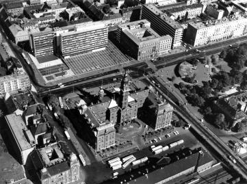 Az elkészült városközpont. (forrás: GYMJVL, Műszaki Levéltár, Fátay-hagyaték)