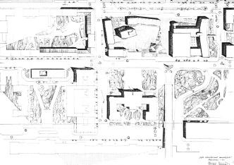 Ulrich Ferenc és Borvendég Béla vázlatterve a beépítésre 1957-ből. Balra fent látható a lakóépület, ekkor még íves formában. (forrás: Fátay)