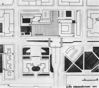 """Az új városközpont végleges beépítési terve 1971-ből. A lakóház az """"F"""" jelű a rajzon. (fottás: MÉ)"""