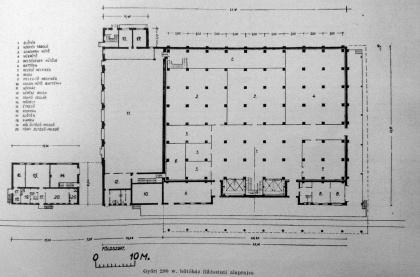 Az épület alaprajza. (forrás: MÉ 1955/7-8.)