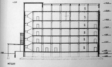 Az épület metszete. (forrás: MÉ 1955/7-8.)