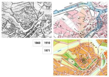 A Rábca még eredeti medrében, 1860-ban. Közvetlenül a szabályozás után, 1910-ben. 1971-ben már áll az iskola (90-es számmal jelölve).