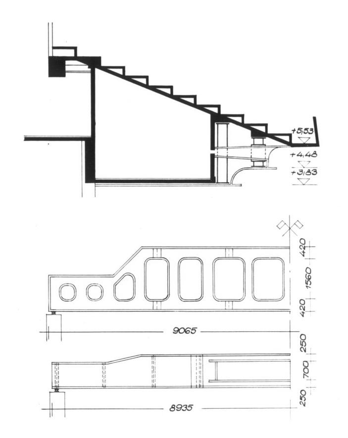 Az erkély metszete a vetítőfülkével. (forrás: MÉ 1962/1.)
