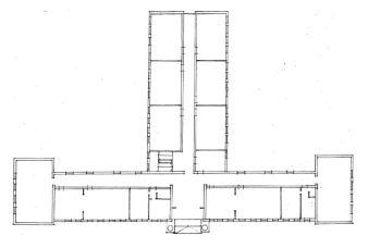 Alaprajzi vázlat az épület eredeti állapotáról. (Winkler Gábor rajza, Atrium program)