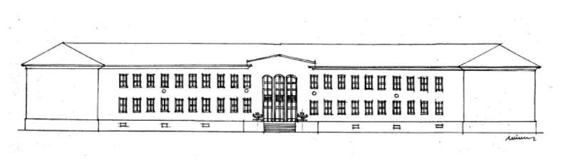 A főhomlokzat rajza. (Winkler Gábor rajza, Atrium program)