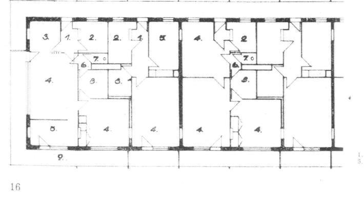 Általános emeleti alaprajz. 1. előszoba, 2. konyha, 3. étkező, 4. szoba, 5. hálófülke, 6. előtér, 7. WC, 8. fürdőszoba, 9. loggia (forrás: Magyar Építőipar)