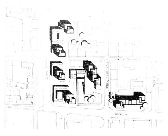 A beépítés helyszínrajza (forrás: Magyar Építőipar)