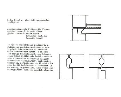 Rövid szerkezeti leírás és csomópontok. (forrás: GYŐRITERV kiadvány)