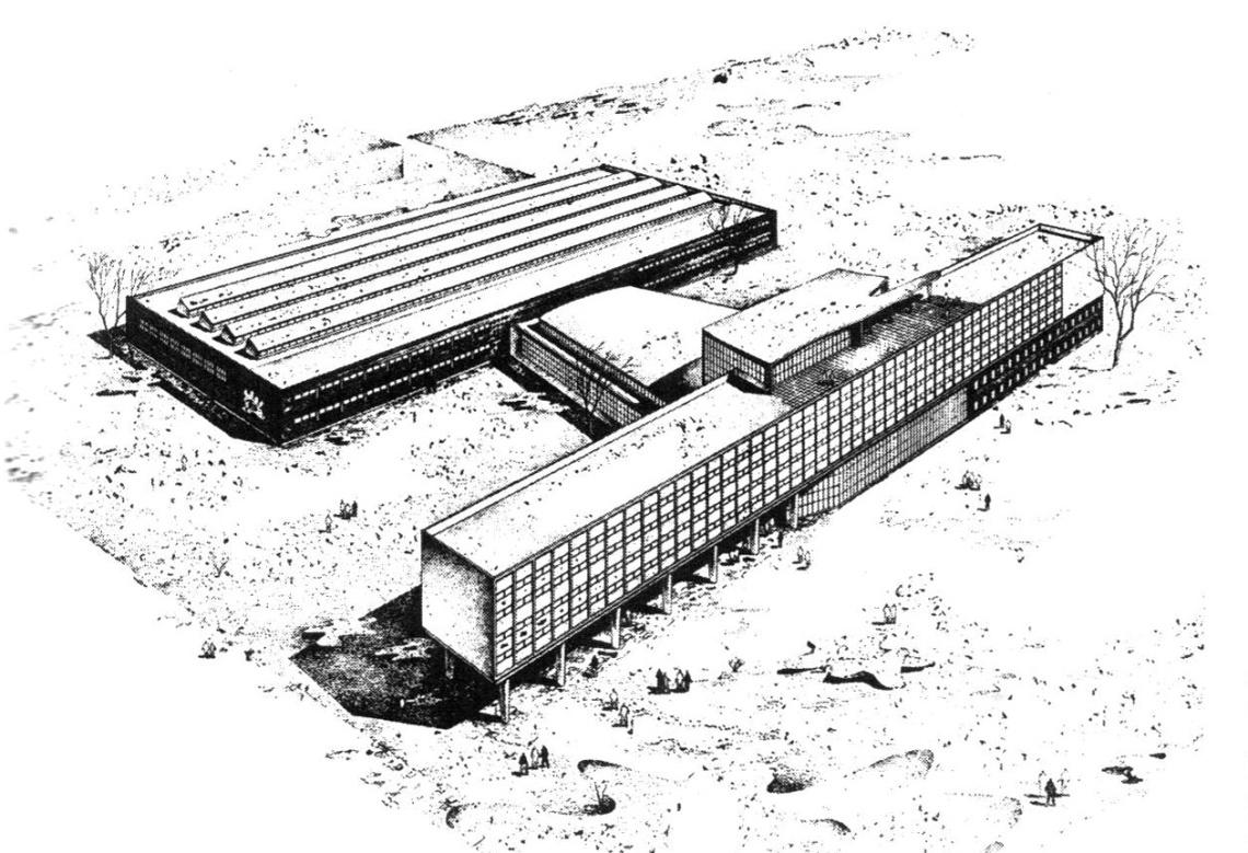 A Weiss Manfréd Iparitanuló Iskola (Csepel) épületének perspektivikus rajza. Tervezte: Fekete Ede