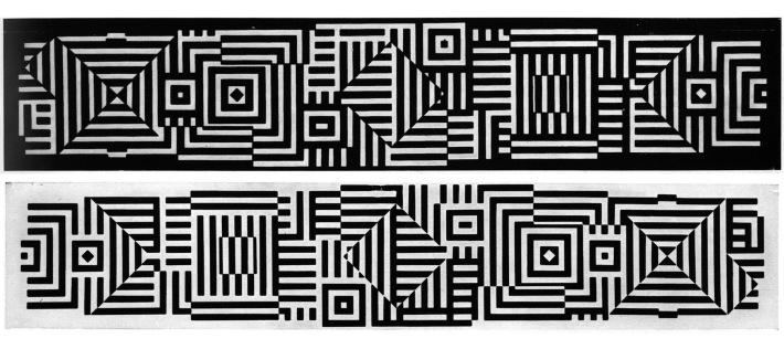Victor Vasarely alkotása 1977-ből. A két hatalmas méretű geometrikus kerámia-alkotás a színház északi és déli homlokzatát borítja. A két alkotás egymás inverze.