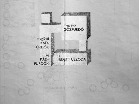 Az 1957-es terv helyszínrajzán láthatjuk a meglévő és a tervezett épületrészeket.