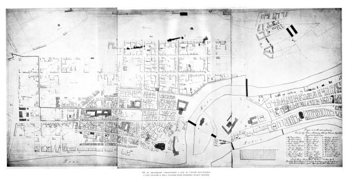 Várostérkép a XIX. század végéről. A Győri Vízvezeték Rt. által a vízvezetéki hálózat feltüntetésére készített várostérkép. Forrás: Borbíró-Valló könyv.