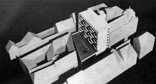 Az első tervváltozat makettje 1966-ból. (forrás: Városépítészet 1967/3.)