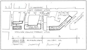 A rekonstrukció által érintett tömb átnézeti rajza a tervezőkkel és az épületekkel. (forrás: Városépítés, Kubinszky M.)