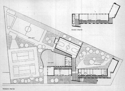Az épületegyüttes eredeti tervei. A főépület fő téregységei lényegében eszerint épültek meg. (forrás: Magyar Építőművészet)