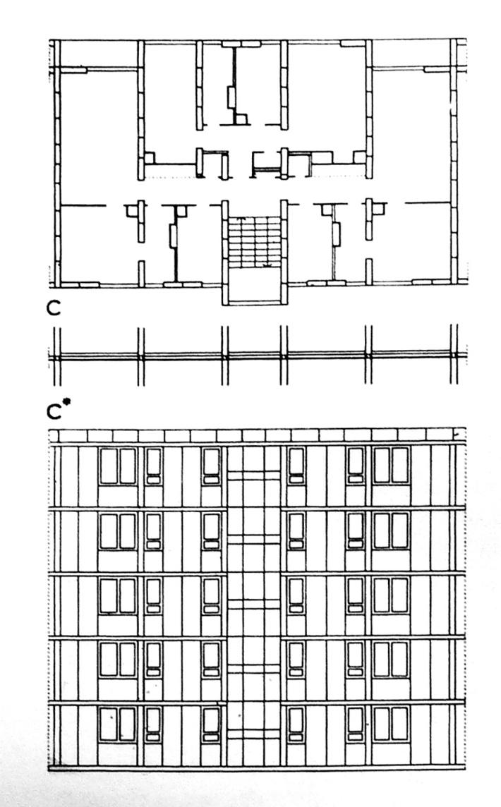 Egy szekció általános emeleti alaprajza és homlokzata. (forrás: Pattantyús)