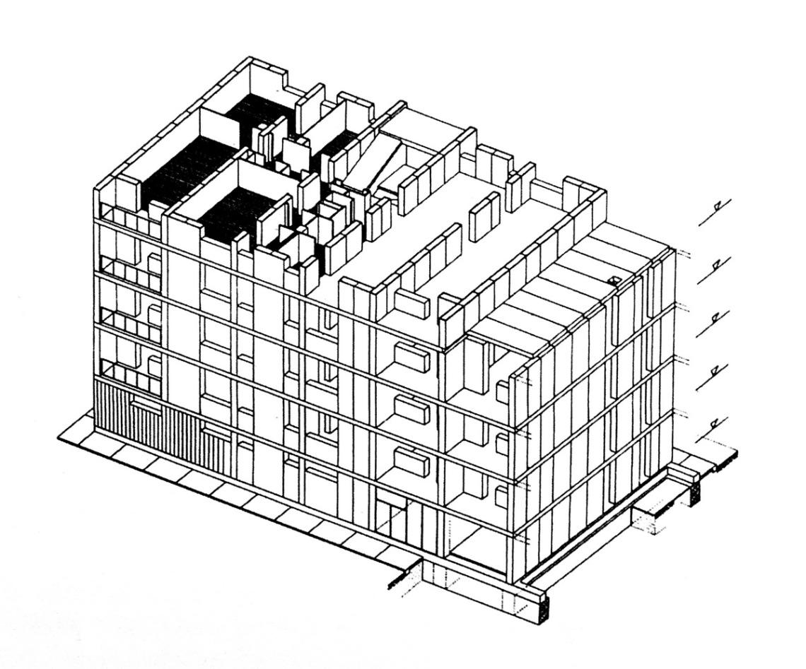 A nagyblokkos ház egy traktusának axonometrikus rajza. (forrás: Pattantyús)
