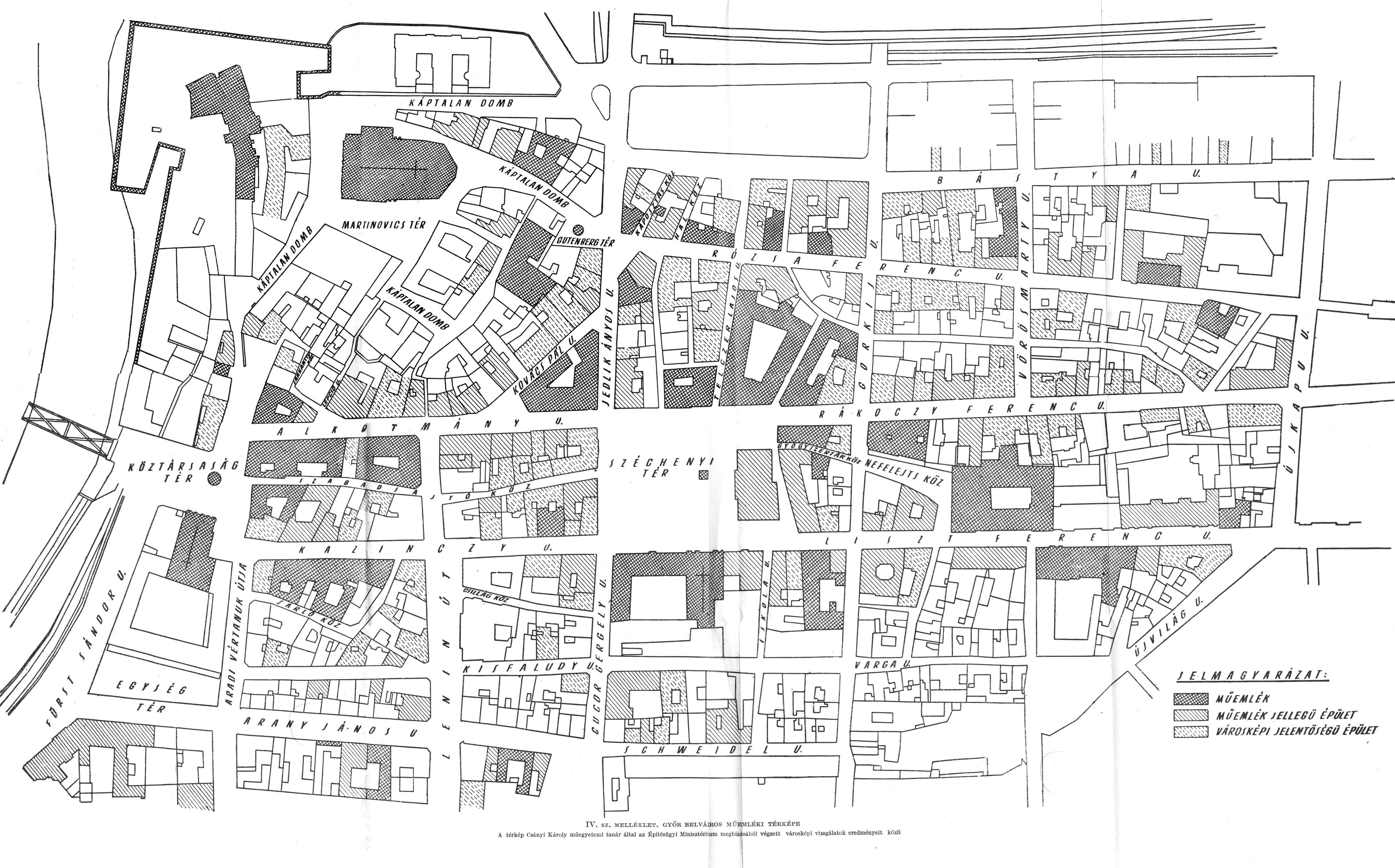 győr belváros térkép 1951, Győr belváros műemléki térképe győr belváros térkép