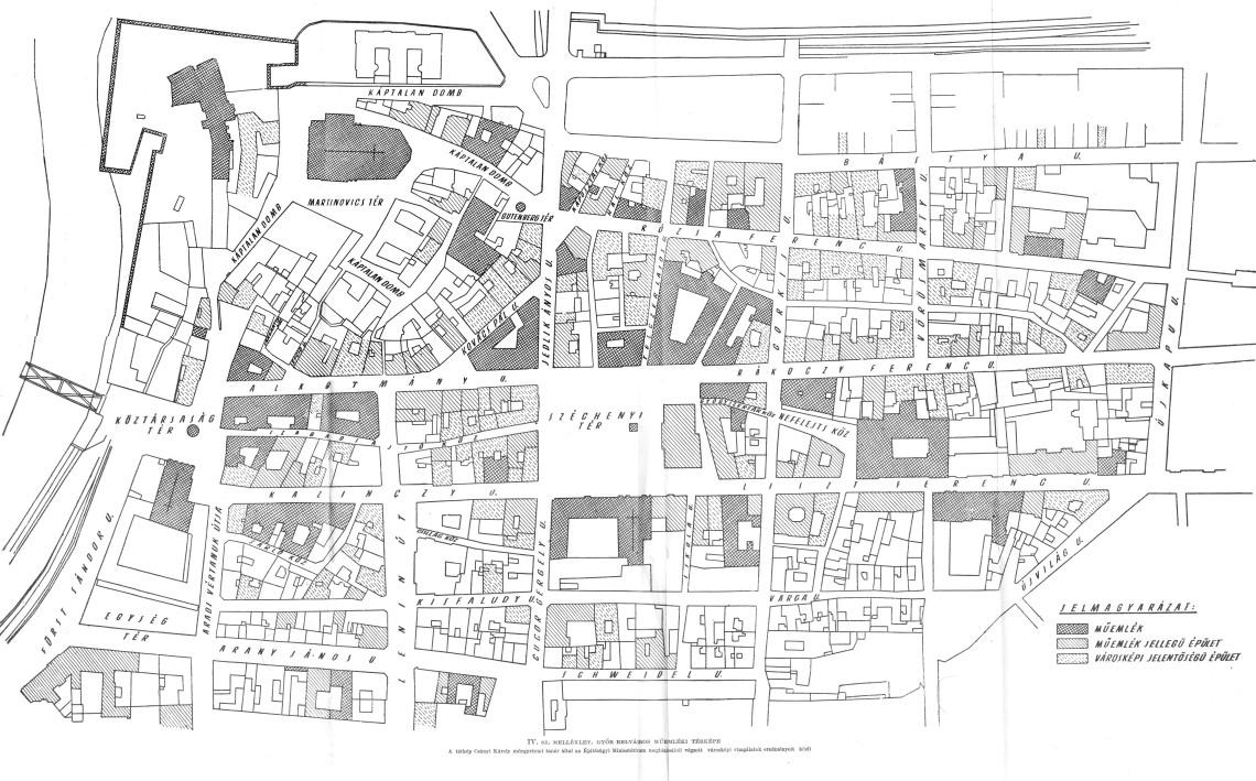 Győr belváros műemléki térképe, 1951.