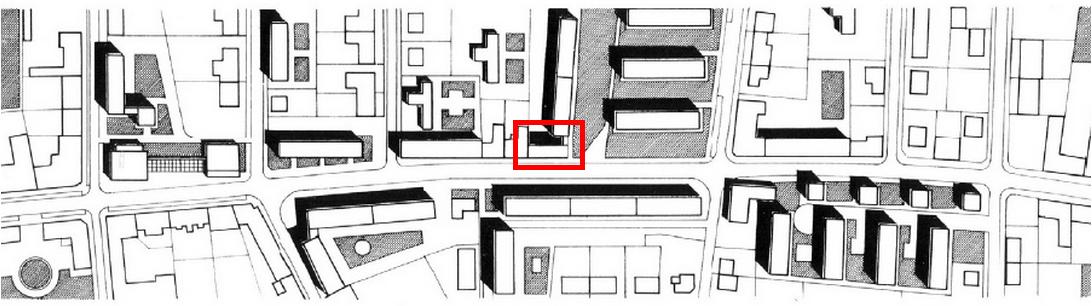 A Bartók Béla úti lakóegyüttes helyszínrajza. Lang János épületét a piros téglalap jelzi. (forrás: GYŐRITERV-es kiadvány)