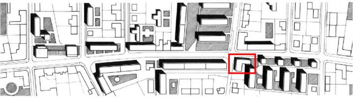 A pavilon elhelyezkedését a piros téglalap jelöli a helyszínrajzon. (forrás: GYŐRITERV-es kiadvány)