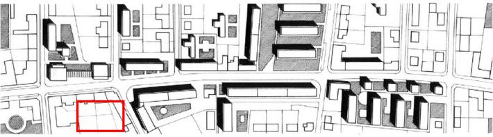 Az épült (majdani) helyét piros téglalap jelöli a beépítés helyszínrajzán. (forrás: GYŐRITERV-es kiadvány)