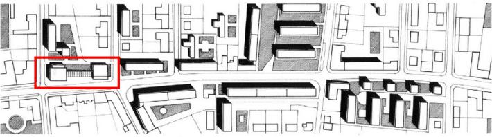 Az együttest a piros téglalap jelöli a beépítés helyszínrajzán. (forrás: GYŐRITERV-es kiadvány)