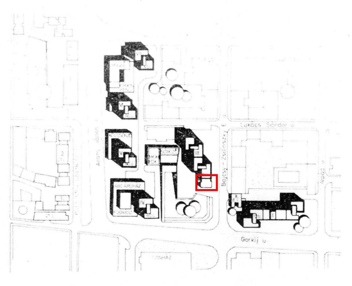 A pavilon helyét a piros téglalap jelzi a helyszínrajzon. (forrás: Magyar Építőipar 1981/1-2.)