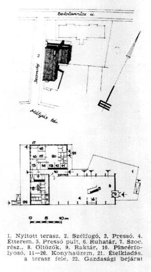 Helyszínrajz és alaprajz. (forrás: Műszaki Tervezés 1968/12.)
