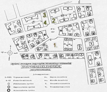 Az Ágyúgyári Lakótelep helyszínrajza. (forrás: archív)