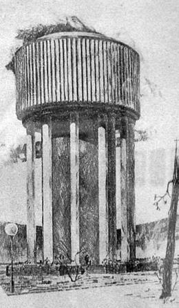 Látványrajz a víztoronyról (forrás: Magyar Építőipar 1957/5--6.)