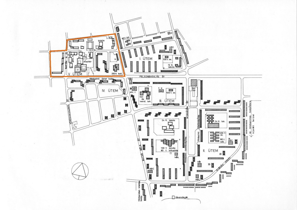 Adyváros rendezési terve   1966-ból. A Nádorvárossal összeérő V. ütemben (általam pirossal kiemelve) épültek meg a mindkét városrészt kiszolgáló középületek. (forrás: GYŐRITERV-es publikáció)