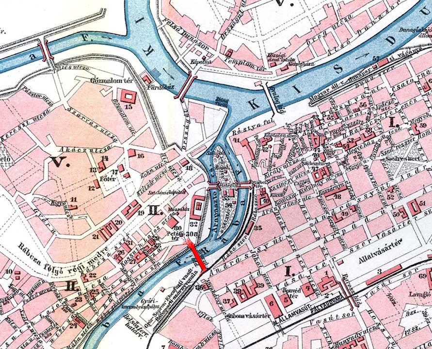 A híd helyét pirossal jelöltük az 1910 körüli térképen.