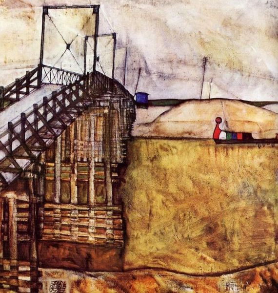 """A Híd. Egon Schiele festménye a """"Kecskelábú"""" hídról. (forrás: http://szigetkoz.eu)"""