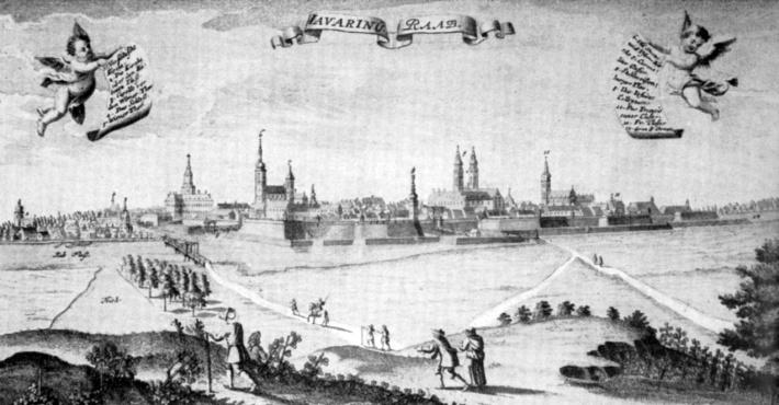 Ez a metszet már a békés, 18. század eleji Győrt ábrázolja délnyugatról. Jól látható a kép bal oldalán az Újvárosba átvezető fahíd. (forrás: borbíró-Valló)
