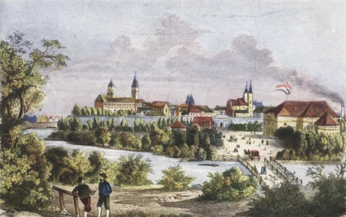 Egy másik rajz, szintén 1850 körülről, amely a várost nyugatról ábrázolja. Előtérben a kisebbik Rába-ág feletti híd. A szigeten, a színház előtti tér a 19. század során kedvelt sétáló, szabadidős helyévé vált a győrieknek.