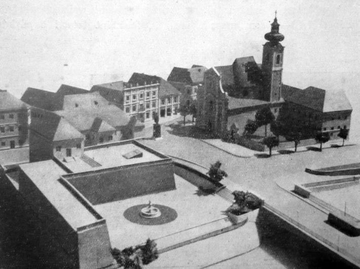 A Bécsikapu tér rendezéseének makettje.