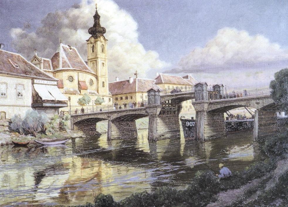 Holló Alajos: Győr - a karmelita templom a híddal c. képe az egyik legszebb fennmaradt ábrázolása a 19. századi Sétatéri hídról.