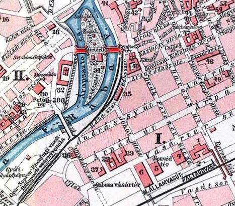 A Radó sziget környéke 1910 körül. A Kettős híd a térképen pirossal jelölve.