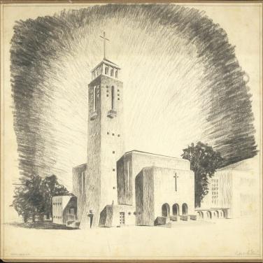 Az evangélikus egyházközösség nádorvárosi templomának terve, látványterv. Lakatos Kálmán, 1940. (forrás: © Ráth Mátyás Evangélikus Gyűjtemény, Győr)