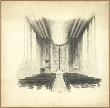 Az evangélikus egyházközösség nádorvárosi templomának terve, belső látványterv. Lakatos Kálmán, 1940. (forrás: © Ráth Mátyás Evangélikus Gyűjtemény, Győr)