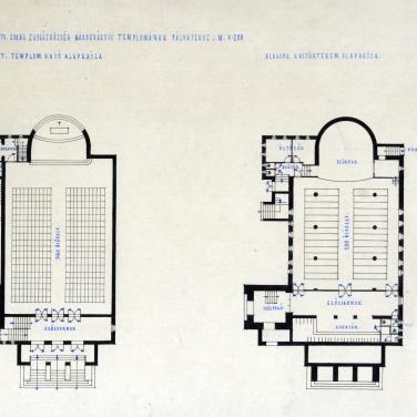 Az evangélikus egyházközösség nádorvárosi templomának terve, alaprajzok. Lakatos Kálmán, 1940. (forrás: © Ráth Mátyás Evangélikus Gyűjtemény, Győr)